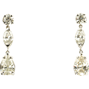 SALE 3.61 Carat Diamond Dangle Earrings