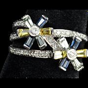 SALE 1.26 Sapphire and Diamond Flower Ring