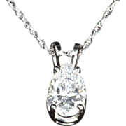 SALE .70 Pear Shaped Diamond Pendant / Necklace