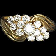 SALE 1.10 Carat Diamond Cluster Wedding Ring