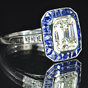 SALE 3.73 Emerald Cut Diamond and Sapphire Ring / EGL Certified