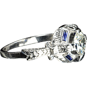 SALE 1.23 Carat Old European Cut Diamond and Sapphire Ring