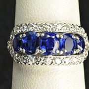 SALE Vintage 2.5 Carat Sapphire and Diamond Wedding Ring