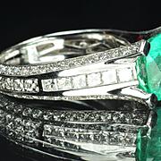 SALE 3.67 Carat Emerald and Diamond Ring