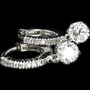 SALE 1.58 Carat Diamond Dangle Hoop Earrings / GIA Certified