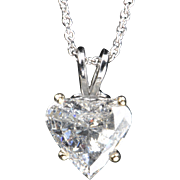SALE 1.69 Carat Diamond Heart Pendant