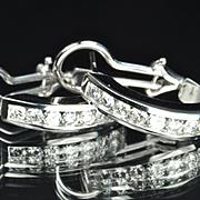 SALE 1.5 Carat Diamond Hoop Earrings