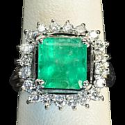 SALE 4 Carat Emerald and Diamond Ring