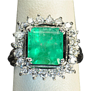 SALE 4 Carat Emerald and Diamond Ring