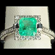 SALE 2.26 Carat Emerald and Diamond Ring