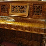 SOLD Upright Victorian Piano-1880's Burled Walnut     SALE/OFFERS CONSIDERED