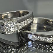 SALE 2.64 Carat Princess Diamond Wedding Set