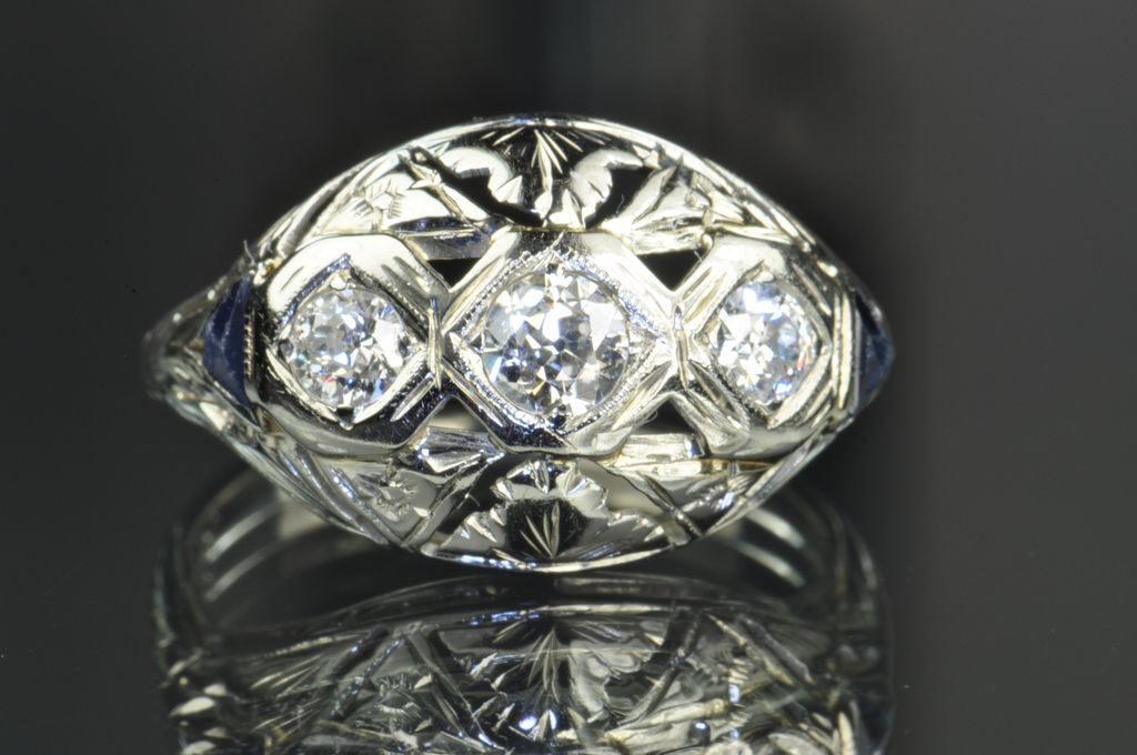 .70 Carat Diamond and Sapphire Edwardian Style Ring