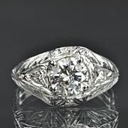 SALE 1.12 Carat Diamond Art Deco Style Wedding / Engagement Ring / CLEARANCE SALE!!