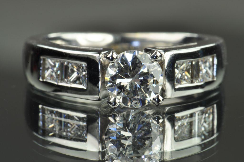 1.22 Carat Diamond Engagement Ring / GIA Certified/ .66 Carat Center