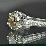 SALE 1.58 Carat Light Brown/Yellow Old Mine Cut Diamond Ring / 1.45 Carat ...