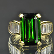 SALE 8.80 Carat Diamond and Green Tourmaline Ring / CLEARANCE SALE!!