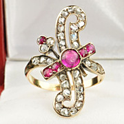 SALE 1.6 Diamond and Ruby Victorian Ring / CLEARANCE SALE!!