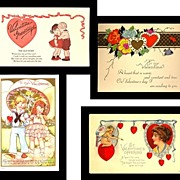 Four Very Cute Vintage Valentine Postcards, Marked 50% Off