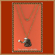 SALE 1980 Lone Ranger with Gun Drawn Charm Pendant Necklace, Mint