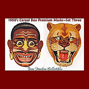 SALE 1950's Native Warrior & African Lion Masks--Cereal Box Premium, Marked 50% Off