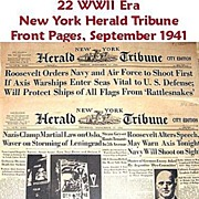 SALE WWII Era New York Herald Tribune Front Pages, September 1941