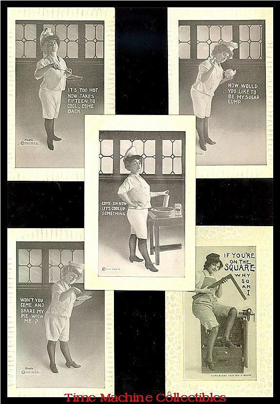 1910 F.Bluh Lady Carpenter & Four 1911 H.I.R. Lady Baker Postcards, Marked 50% Off
