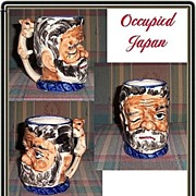 Large Occupied Winking Gentleman Toby Mug with Squirrel Handle, Marked 50% Off