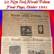 SALE WWII Era New York Herald Tribune Front Pages, October 1941