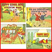 SALE Four 1940's Platt & Munk Stick'em Books, Marked Over 50% Off