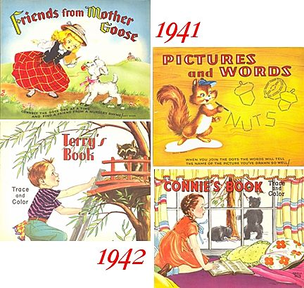 1940's--Two Connect The Dots & Two Trace and Color Books, Marked Over 50% Off