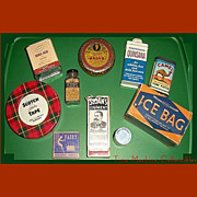 SALE Ten Vintage Drug Store Tins & Bottles, Rawleigh's, Sloan's, Alka-Seltzer, Marked Over 50%