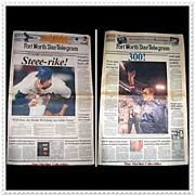 SALE Nolan Ryan, 1989 5,000th Strike-Out & 1990 300th Win Papers, Marked Over 50% Off