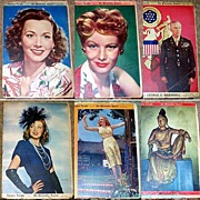 SALE 1940's Sunday Supplement Newspapers with Movie Star Front Pages, Marked Over 50% Off