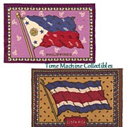 SALE 1900's Tobacco Felt Flags of Philippines, Costa Rica, and Honduras, Marked Over 50% Off