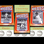 SOLD 1992 Wheaties 60 Years of Sport Heritage Cereal Boxes Ruth, Gehrig, and Mays, Marked Over