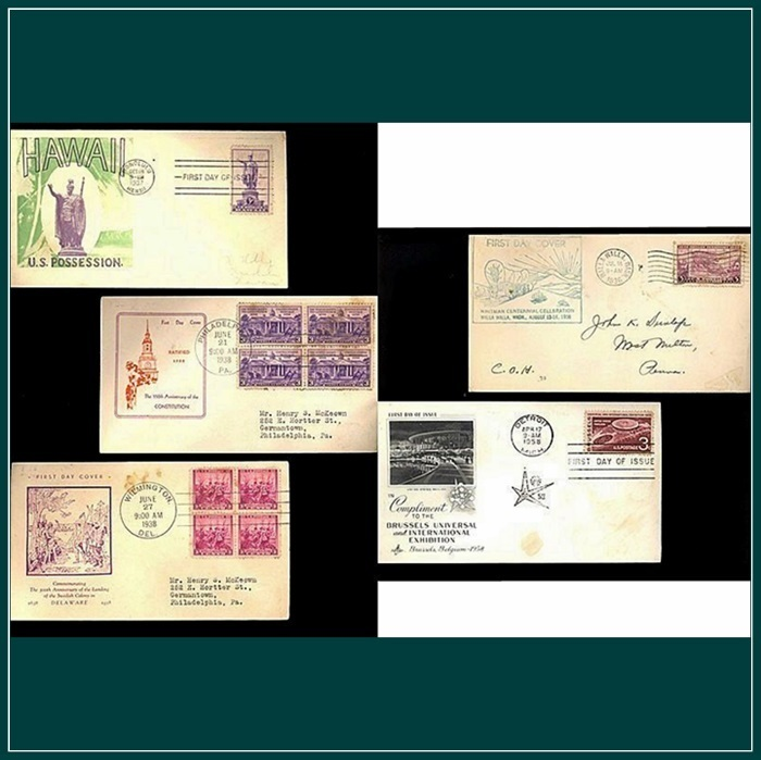 Five First Day Issue Covers, Hawaii, Brussels Exhibition, 1930's, 1958