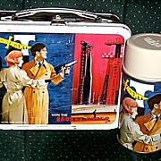 SOLD 1968 Secret Agent Metal Lunchbox and Thermos, Marked Over 50% Off