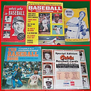 SALE 1940's-90's Baseball Paper Memorabilia Assortment, Marked Over 50% Off