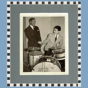 SALE Rare Count Basie Photo with Russ Hager, Drummer, Marked Over 50% Off