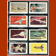 Eight 1959 Red Sicle Ball Aircraft Trading Cards, Set One