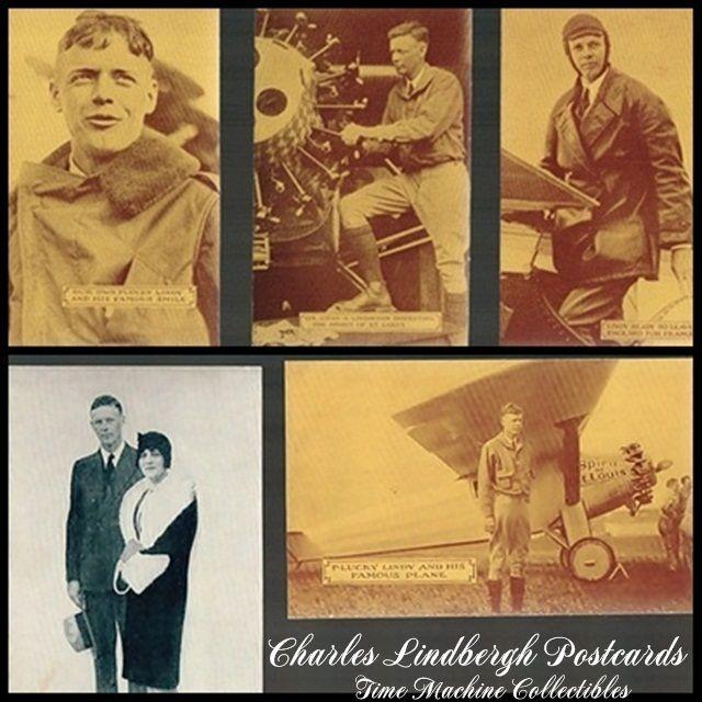 Seven Vintage Charles Lindbergh Postcards