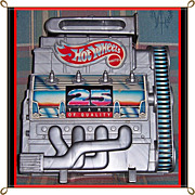 1992 Hot Wheels Silver Block Car Case with 6 Assorted Cars & Trucks