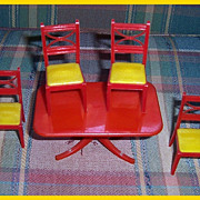 Renwal Red Dining Room Table & Four Red & Yellow Chairs