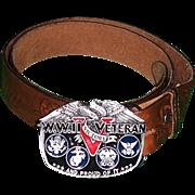 WWII Veteran V.E.--V.J.Day Victory Belt Buckle & Leather Belt