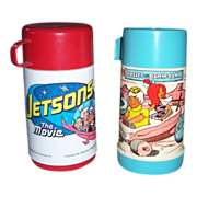 SALE 1970 Jetsons The Movie Thermos and 1971 Pebbles and Bamm-Bamm Thermos, both Plastic