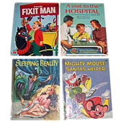 Four 1950's Children's Wonder Books Mighty Mouse-Santa's Helper, Sleeping Beauty, Fixit Man, & A Visit to The Hospital