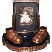 SOLD 1900's Vintage Bronze Baby Shoes & Framed Baby Photo
