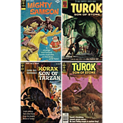 1975 Mighty Samson Comic, No. 30, 1964 Korak Son of Tarzan, No. 4, & Two Turok ...