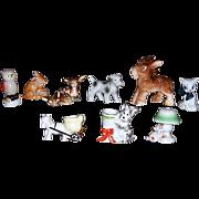 Adorable Occupied Japan Animal Figurines, Dogs, Bunnies, Cat, Deer, Horse